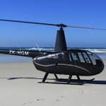 R44 helicopter on the beach