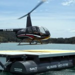 Salt Air's R44 landing on the Heli barge
