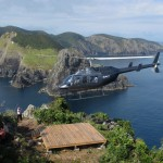Landing on the Hole in the Rock by helicopter